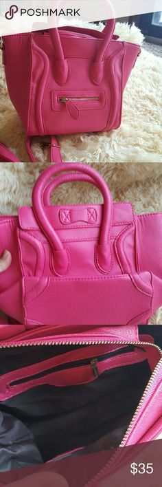 Pink smile bag mini cross body purse Brand new bag,   can fit in it  iPad. Faux leather will ship out within 1-2 business days. I have other colors. Bags Satchels