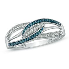 1/8 CT. T.W. Enhanced Blue and White Diamond Waves Ring in Sterling Silver - Zales