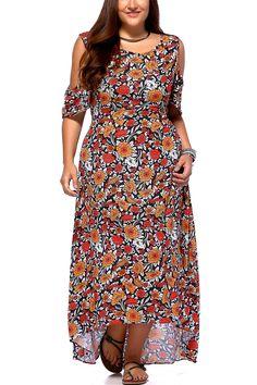 $24.73 Chic Plus Size Cold Shoulder High Low Hem Floral Print Dress For Women