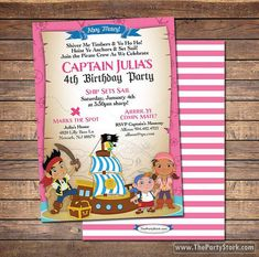 Jake and the Neverland Pirates Invitations: Printable Girls Pirate Birthday Party Invitation, FREE BACK. ~Click to see printables too~ on Etsy, $15.00