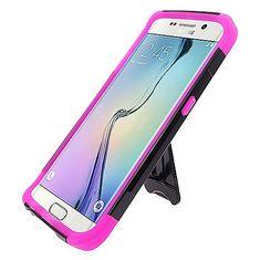 Samsung Galaxy S6 Edge Black TPU + Hot Pink PC Hybrid Case w/Stand