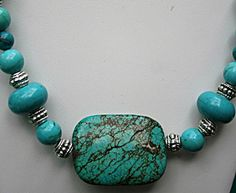 Large Turquoise Focal Pendant Bead - Silver & Turquoise Necklace