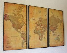 Canvas Map Wall Art by Just Two Crafty Sisters