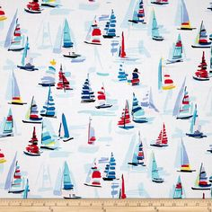 Michael Miller Regatta Marine from Designed by Michael Miller, this cotton print fabric is perfect for quilting, apparel and home décor accents. Colors include white, red, yellow and shades of blue. Glitter Critters, Wall Design, Print Design, Fabric Patterns, Print Patterns, Sewing Terms, Michael Miller Fabric, Thing 1, Cool Diy Projects