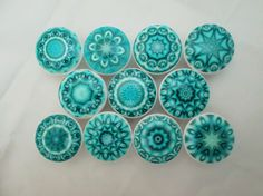Set of 10 aqua blue mandala print wood knobs are wide and have been painted white with a decoupage mandala pattern. Sealed with a triple coat gloss finish so these knobs are durable enough for ev Knobs And Handles, Drawer Knobs, Knobs And Pulls, Cabinet Knobs, Drawer Pulls, Door Knobs, Cabinet Hardware, Door Handles, Mandala Print