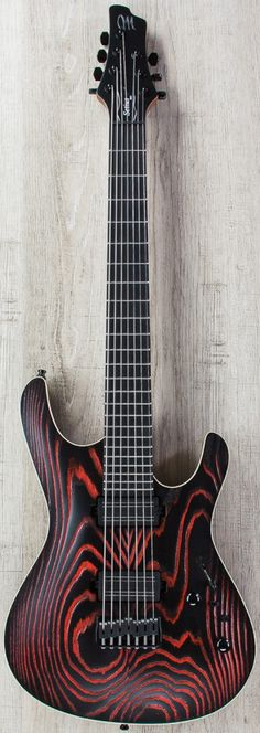 Mayones Setius 7 AK1 - Acle Kahney Signature 7-String Electric Guitar, Ebony Fingerboard, Hard Case - Pored (Black/Red)