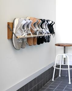 27 Cool & Clever Shoe Storage Ideas for Small Spaces - Simpl.- 27 Cool & Clever Shoe Storage Ideas for Small Spaces – Simple Life of a Lady 22 Cool & Clever Shoe Storage Ideas for Small Spaces – Simple Life of a Lady - Shoe Storage Small, Diy Storage, Bedroom Storage, Shoe Storage Ideas For Small Spaces, Wall Shoe Storage, Storage Spaces, Clever Storage Ideas, Small Shoe Rack, Shoe Storage Solutions