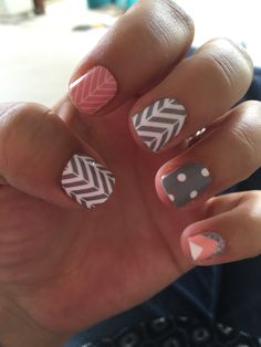 Jamberry nail art studio! Coral and gray mani LindseyNeal.jamberrynails.net #nailartstudio #jamberry