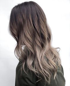This color is a great mix of mushroom and neutral tones Dark Brunette Balayage Hair, Ashy Balayage, Bayalage On Black Hair, Ash Brown Bayalage, Hair Bayalage, Ombre Hair Color, Hair Color For Black Hair, Cool Hair Color, Cool Tone Brown Hair