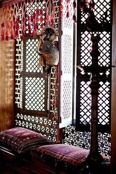 beautiful mashroobiya screen and sitting area window shutters, screen, early mornings, moroccan interiors, seats, windows, bohemian design, morocco, window coverings
