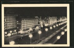 AK Berlin-Friedrichshain, Stalinallee bei Nacht  gelaufen 1955