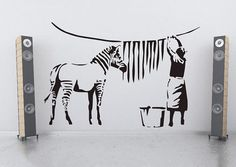 large banksy zebra stripes laundry room wall art sticker mural transfer decal is part of Sticker wall art - Large Banksy Zebra Stripes Laundry Room Wall Art Sticker Mural Transfer Decal Wallart Stickers Banksy Graffiti, Arte Banksy, Graffiti Wall, Wall Murals, Bansky, Large Wall Decals, Vinyl Wall Stickers, Cheap Stickers, Laundry Room Art