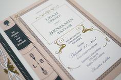 Vintage Library Book Wedding Invitation Printable Set of 4. $90.00, via Etsy.