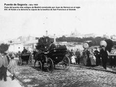 Puente de Segovia  – Año 1905 Vista del puente más antiguo de Madrid construido por Juan de Herrera en el siglo XVI. Al fo...