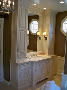 Bathroom renovation - Gilday* i like idea of cabinets on the side of mirror for more storage.