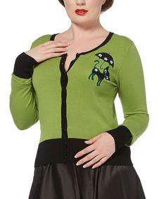 Green & Black Cat Cardigan