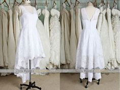Lovely Short Lace Wedding Dress, V-neck Short Front Long Lack Lace Reception Wedding Dress, White Tea-length Cocktail Wedding Dress W524