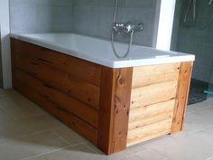 New Bath Panel Pallet Ideas Paneling, Outdoor Baths, Home Decor Furniture, House, Wood Pallets, Home Diy, Bath Panel, Bathtub, Pallet Furniture