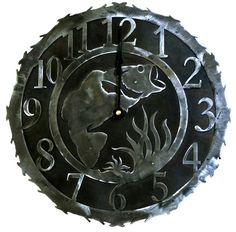 Lodge Decor Recycled Rustic Clock with Jumping Bass