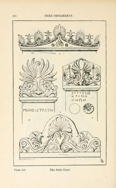 A handbook of ornament Free ornaments the stele crest page 170