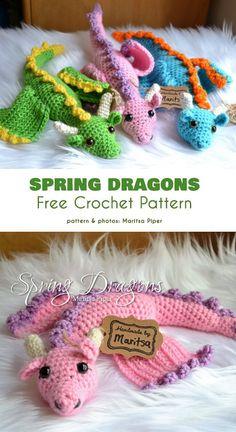 Spring Dragons Free Crochet Pattern (Your Crochet) - interiordes. - Making Things - Spring Dragons Free Crochet Pattern (Your Crochet) – interiordesign The Effective - Crochet Gratis, Crochet Patterns Amigurumi, Cute Crochet, Crochet For Kids, Crochet Dolls, Knit Crochet, Crochet Baby Toys, Crochet Things, Crotchet