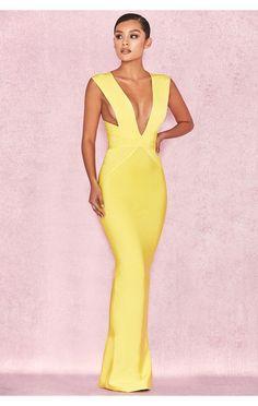 Unique Dresses, Sexy Dresses, Vintage Dresses, Fashion Dresses, Evening Party Gowns, Evening Dresses, Yellow Fashion, Diva Fashion, Classy Dress