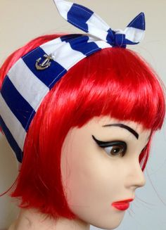 Sailor Nautical Headband Navy blue and white by 3DROPSOFPOISON, $11.00