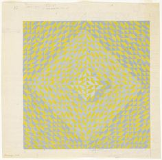 Anni Albers, Study for DO II, 1973  Gouache on Paper (blueprint). JAAF: 1994.10.44  38.1 x 38.1cm (15 x 15 inches)  ©2003 The Josef and Anni Albers Foundation / Artists Rights Society (ARS), New York