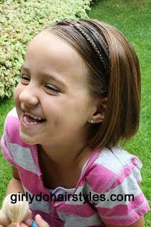 """Double tiny braid """"headband"""" for little girl short hair hair-do Girly Hairstyles, Little Girl Hairstyles, Headband Hairstyles, Braided Hairstyles, Braid Headband, Hairdos, Headbands For Short Hair, Braids For Short Hair, Short Hair Styles"""