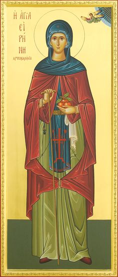 By Protopresbyter Fr. George Papavarnava The Venerable Irene of Chrysovalantou came from Cappadocia and lived in the ninth century, during. Religious Icons, Religious Art, St G, Religious Paintings, Byzantine Icons, Art Icon, Orthodox Icons, Traditional Art, Christianity