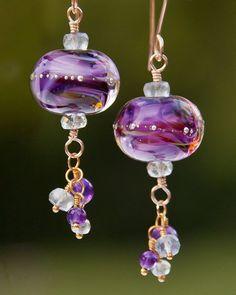 Grape Escape Artisan Glass Bead Earrings by JoBellaBijoux on Etsy, $75.00