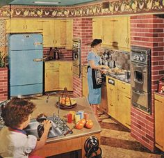 All those years I juiced citrus and didn't have a huge flat sink to contain the spills! Of course the rest of the kitchen was nothing like this either. I still don't have double wall ovens. ;-). early 50's kitchen
