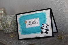 Geburtstagskarte Aquarell Panda Bär