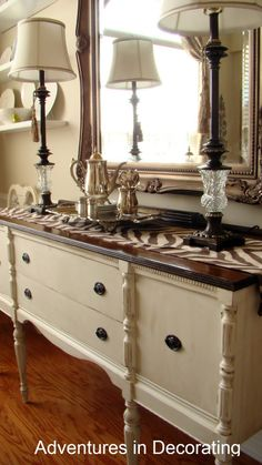 Love the paint with walnut stain.