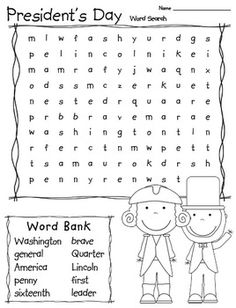 President's Day word search. could be a good center activity or something for students to do when they finish early