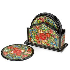 kashmiri papier mache coaster set