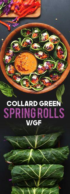 Collard Green Spring Rolls with Sunbutter Sauce