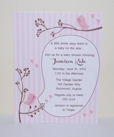 Pink Bird baby shower invitation A little by SimplyStampedInvites, $15.00