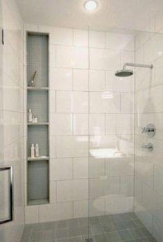 New Bathroom Remodel Shower Tile Shelves Ideas Diy Bathroom Remodel, Bathroom Renovations, Bathroom Makeovers, Budget Bathroom, Decorating Bathrooms, Tub Remodel, Interior Decorating, Small Bathroom Remodeling, Small Shower Remodel