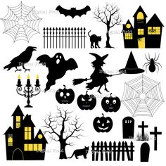 INSTANT DOWNLOAD Halloween Silhouette Clip Art Set - Halloween printable digital clipart. $5.00, via Etsy.