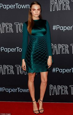 Cara Delevingne wearing a green silk dress from Dion Lee Fall 2015. #CaraDelevingne #model #inspiration #fashion #celebrities #style #icons