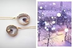 Agate necklace with raw amethyst. Agate Necklace, Amethyst Necklace, Raw Amethyst, Modern Fashion, Handcrafted Jewelry, Fashion Inspiration, Street Style, Stone, Pendant