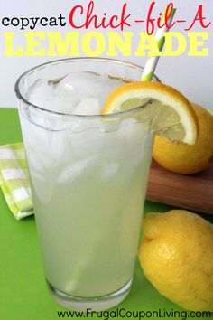 copycat-chick-fil-a-lemonade-recipe-frugal-coupon-living + links to other copycat drink recipes Refreshing Drinks, Summer Drinks, Fun Drinks, Healthy Drinks, Beverages, Cocktails, Non Alcoholic Drinks, Cocktail Drinks, Smoothie Drinks