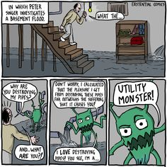 A philosophy webcomic about the inevitable anguish of living a brief life in an absurd world. Also Jokes Robert Nozick, Philosophy Memes, Anarcho Capitalism, Flooded Basement, Terrible Jokes, Thought Experiment, Comic 8, Brave New World, Inevitable