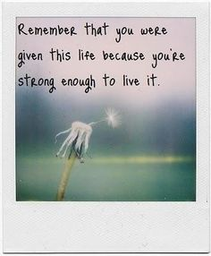 """Remember that you were given this life because you're strong enough to live it."" #dandelions4emma #Grief #Babyloss #baby #mydaughterlivesinHeaven #Miscarriage #EmptyArms #angelmommy #angeldaddy #angelbaby #momofanangel #dadofanangel #stillborn #breakthesilence #returntozero #stillstanding #pain #sorrow #death #quote"
