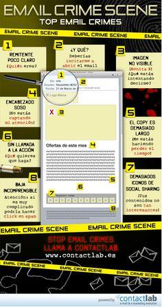 Infografía: Los errores que no debes cometer a la hora de enviar un e-mail. via: contactlab.