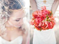 wedding flowers Coral Orange Bridal Bouquet 1
