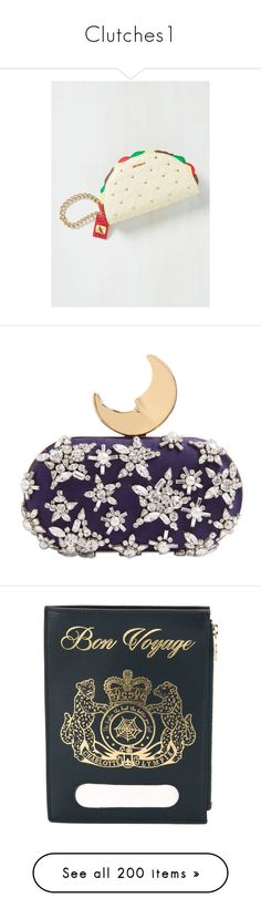 """""""Clutches1"""" by lapianomusa ❤ liked on Polyvore featuring bags, handbags, clutches, multi colored clutches, vegan purses, studded purse, white handbags, colorful clutches, purses and blue"""