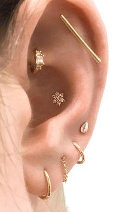 Multiple Ear Piercing Jewelry Ideas Crystal Flower Earring Stud for Cartilage Co. - Multiple Ear Piercing Jewelry Ideas Crystal Flower Earring Stud for Cartilage Conch Helix Earring S - Innenohr Piercing, Cool Ear Piercings, Ear Peircings, Multiple Ear Piercings, Cartilage Piercings, Conch Piercing Jewelry, Inner Conch Piercing, Types Of Ear Piercings, Conch Earring