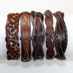 5 Piece Handmade Leather Bracelet Set Mens by BraceletStreetUSA